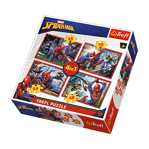 TREFL PUZZLE 4W1 W SIECI SPIDERMANA DISNEY MARVEL 34293
