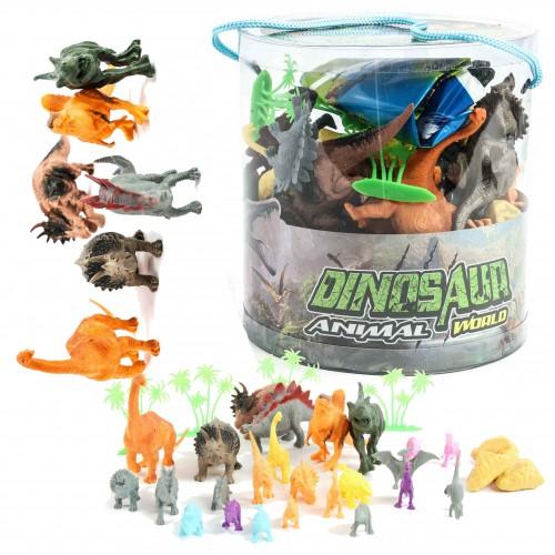Zestaw Zwierząt Dinozaury  w wiaderku prehistoryczne