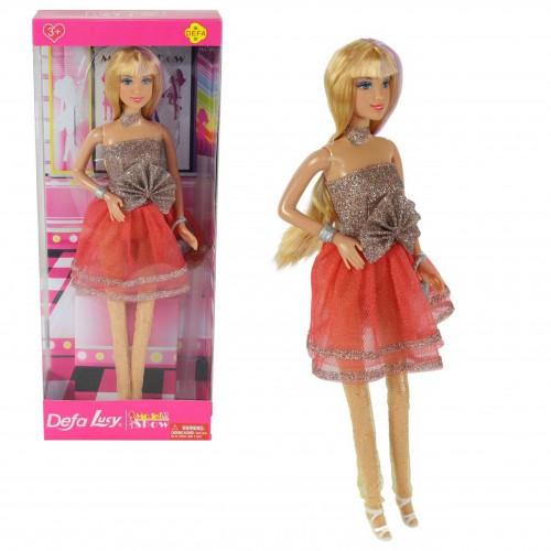 Lucy Lalka blondynka sukienka+rajstopy lalka defa model show