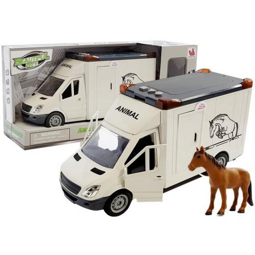 Pojazd wóz do przewozu transportu koni + figurka