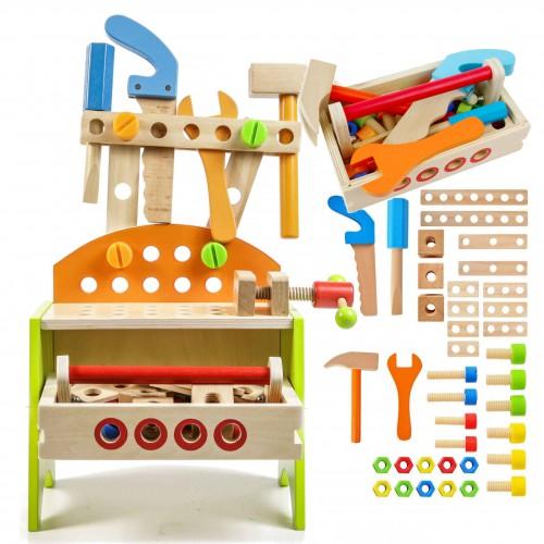 Drewniany warsztat z narzędziami dla dzieci