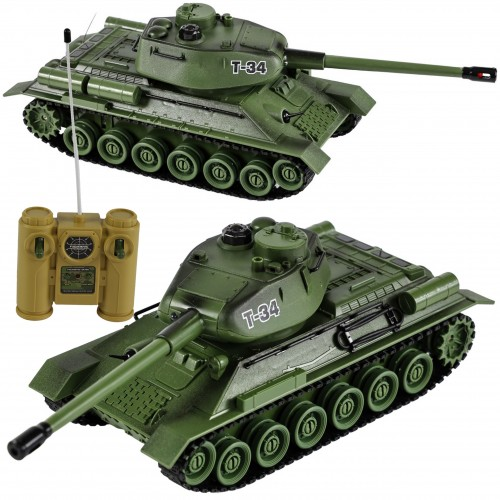 DUŻY Czołg T-34 RUDY 1:28 gąsienice zdalnie sterowany
